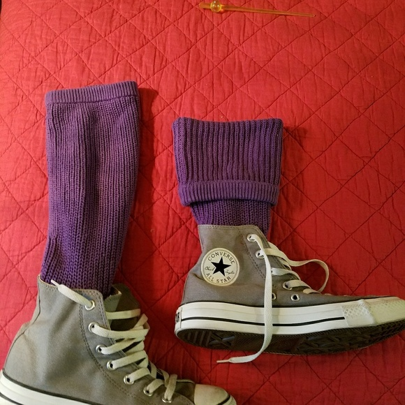 002891e24e31 Converse Shoes - Converse gray hi top with attached purple socks to